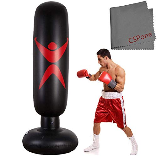 CSPone | Boxsack aufblasbar stehend für Erwachsene und Kinder, Standboxsack boxsäule Tumbler für Fitness dekompression sandsäcke Kick kampftraining, Freistehender punchingball sandsack Trainer