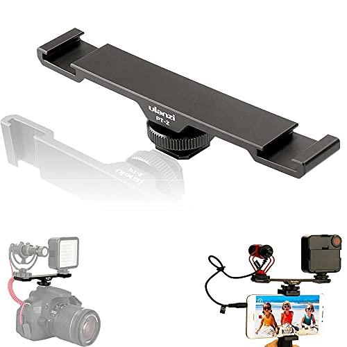 ULANZI PT-2 Ulanzi PT-2 - Barra de extensión de metal para montaje en zapata fría, doble soporte para cámara réflex digital y smartphone, para accesorios de micrófono ligero