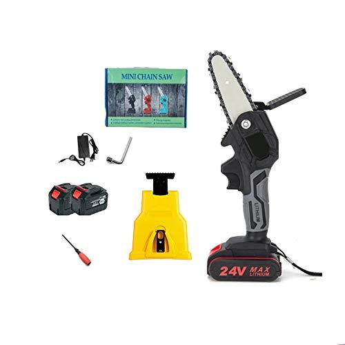 XDXDO Mini Motosierra Sin Cable, 4 Pulgadas, Sierra Eléctrica De Mano Pequeña Recargable De 24V, con Lijadora De Cadena Y 2 Paquetes De Baterías De 2.0, para Corte De Árbol De Árbol De Árbol De Patio