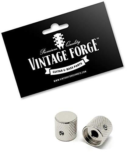 Vintage Forge Nickel Flat-Top Barrel Knobs for Fender Telecaster Guitar and Precision P-Bass (Set of 2) 1/4 Inch Solid Shaft BK30US-NKL Arkansas