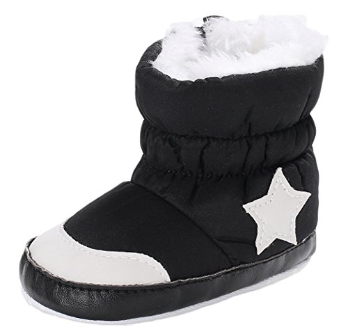 [コ-ランド] ファーストシューズ スノーブーツ ベビー 新生児靴 裏起毛 星柄 赤ちゃん 女の子 男の子 男女児 出産祝い 歩行練習靴 ブラック 13cm