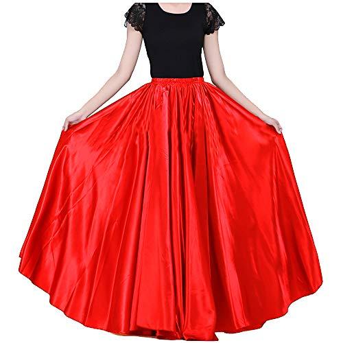 Satin Long Swing Skirt Red Belly Dance Satin Long Dress Elastic Waistband Design Great Stage Effect