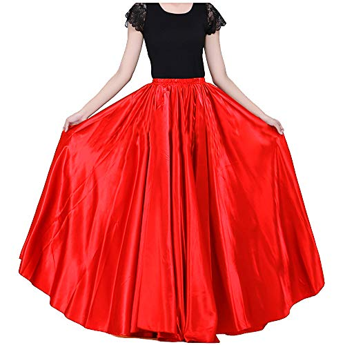 Ladies 90cm Satin Maxi Midi Skirt Long Dress Elastic Waist for Belly Dance Princess Party Cosplay Costume Red