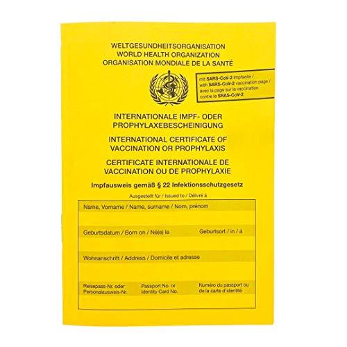 Impfpass/Impfausweis/Impfbuch - International - Neuauflage 2021 - Covid-19 Impfungen - Mehrsprachig - Extraseite für aktuelle Schutzimpfungen - In Gelb - Wichtiges Reisedokument
