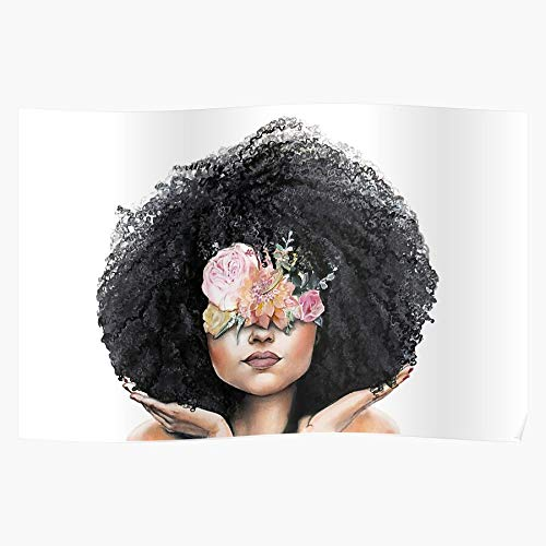 95Sfashion Flowers Afro Girl Magic Curls Hair Peonies Natural Curly Black Womens I The Best and Newest Poster for Wall Art Home Decor Room