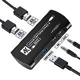 AVCISS キャプチャボード,4K HDMI USB3.0ループアウト 1080P 60FPSビデオ/オーディオゲームをサポートキャプチャカードデバイスWindows7 / 8/10、Mac Linux、PS3 / 4/5用OBSTwitch Xbox Wii Uストリーミングおよびレコーディング、HD-102