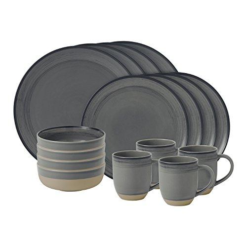 Royal Doulton Ellen DeGeneres - Vajilla de 16 piezas, esmaltada, porcelana, gris oscuro, 36.23