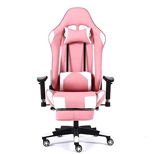 Gamingstuhl High-Back Racing Style Bürostuhl Recliner Computer Chair für Gaming PU-Leder Ergonomischer E-Sports Chair Höhenverstellbarer Schreibtischstuhl / mit USB-Massage Lendenwirbel -pink