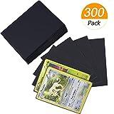 Homgaty - 300 fundas para cartas estándar, protectores transparentes para baraja de Pokémon, magia, MTG, The Gathering, juegos de mesa, Yu-Gi-Oh (negro)
