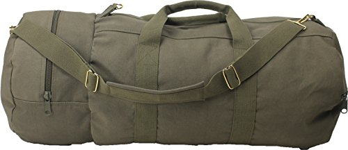 ARMYU Cotton Canvas Large Shoulder Duffle Bag, Olive Drab Military Tote with Straps for Sports, Gym, Work, Everyday, Travel, Camping, Hiking, Overnight, Weekend - Packable, Carryall, Holdall