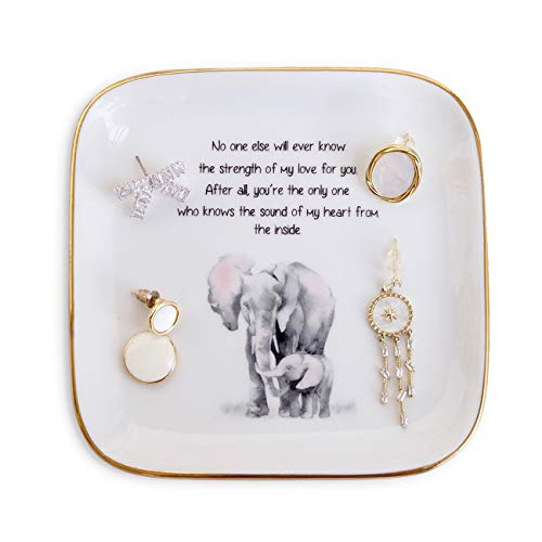 """PUDDING CABIN Gift for Mom, Elephant Ring Dish """"No One Else Will Ever Know The Strength Of My Love For You' Mother's Day Gift, Birthday Mom Gift from Son or Daughter"""