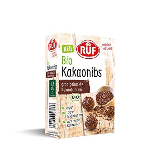 RUF Bio Kakaonibs 100% grob gehackte Kakaobohnen ohne Zucker vegan, 150 g