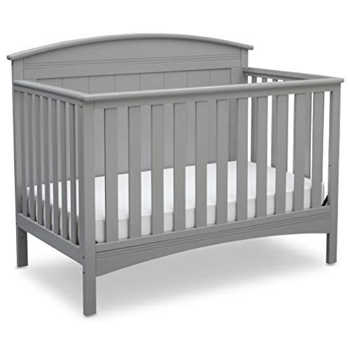 Delta Children Archer Solid Panel 4-in-1 Convertible Baby Crib, Grey