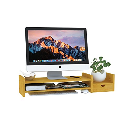 LIMAM Wood Monitor Stand Riser with Storage Organizer Bamboo Printer Stand for Home and Office(70cm A)