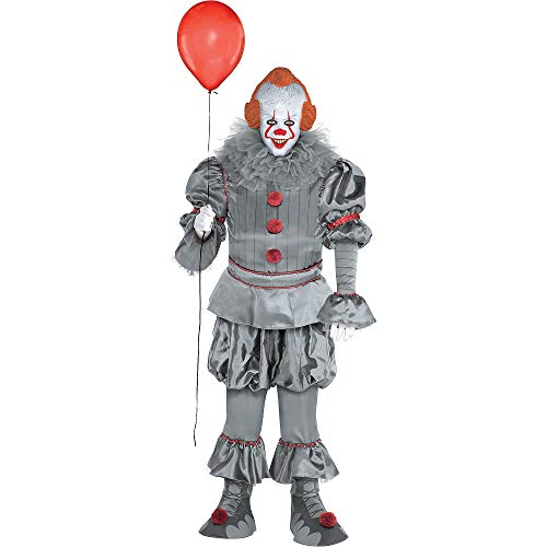 Party City Tattered Pennywise Halloween Costume for Adults, IT Chapter 2, Plus Size, Includes Jumpsuit, Mask, Collar
