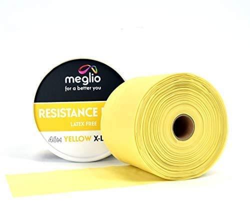 Meglio Libre de látex Banda de Resistencia Rollo de 46m Premium para fisioterapeutas para Cortar hasta la Longitud necesaria