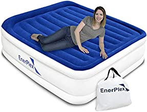 EnerPlex Queen Air Mattress for Camping, Travel & Home - Luxury, 15-Inch Double Height Inflatable Bed w/ Built-in Dual Pump