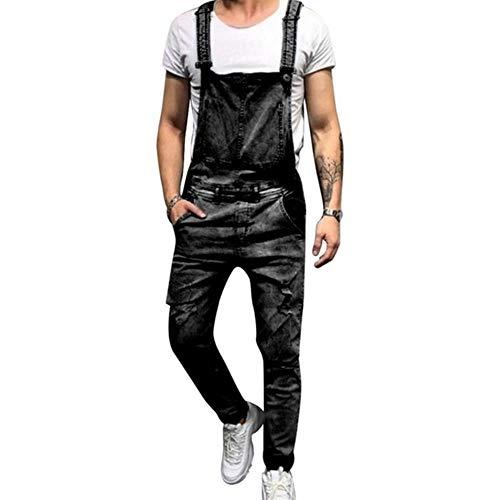 YANGPP Zerrissene Herren Jeans Overalls Hi Street Distressed Denim Latzhose Für Herren Jeans Hosenträgerhose, Grau, XXL