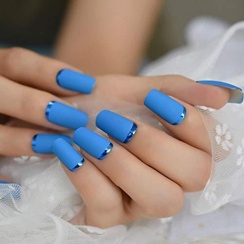 CLOAAE Blue Matte Square Faced French False Tips Chrome Moo Fashion Medium Long Acrylic Nails Wholesale