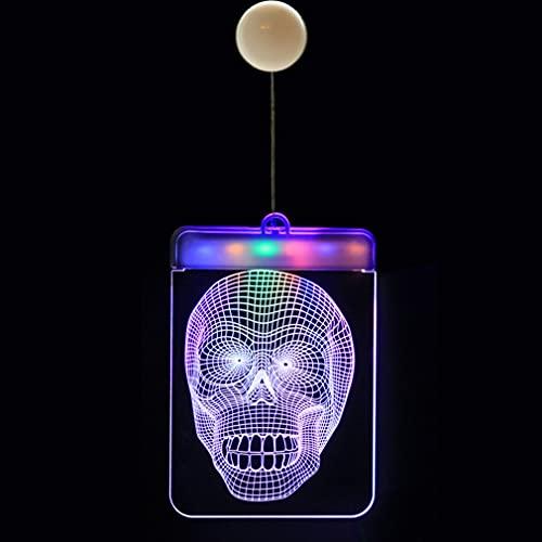 HehiFRlark Luces Colgantes Decoración de Halloween Luces de Cortina LED Luces de Calavera de Halloween Calavera 16 * 11.5cm