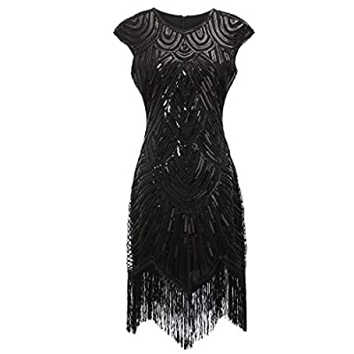 Colorful House Women's 1920s Sequin Beaded Fringed Cocktail Flapper Dress