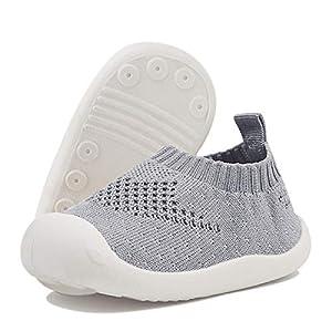 DEBAIJIA Bebé Primeros Pasos Zapatos 1-4 años Niños Niñas Infante Suave Suela Antideslizante Malla Transpirable Ligero 19 EU Gris (Tamaño de la etiqueta-15)