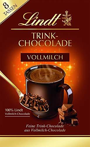 Lindt Trinkschokolade Vollmilch, zarte Flocken aus Vollmilch-Chocolade zum Einrühren in Milch oder Wasser, 8 Tassen, 120g