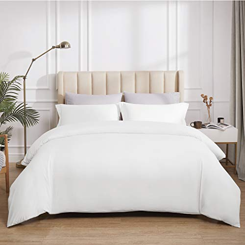 Bedsure Duvet Covers Queen Size White - Duvet Cover Queen Set Bedding Comforter Cover with Corner Ties Zipper Closure 90x90 Inch 3 Pieces