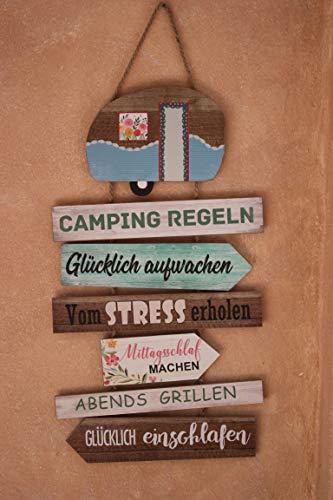 Posiwio Campingregeln, 60 x 35 cm, Schild zum Hängen