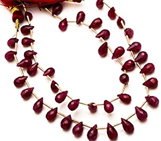 GemAbyss Beads Gemstone 1 Strand Natural Ruby Corundum Faceted Teardrop Briolettes 8 Inch Full Strand 59MM Approx Code-MVG-4541