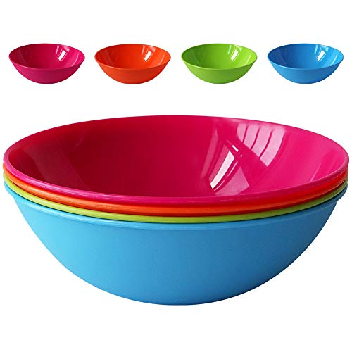 Greenandlife 8pcs/35 ounce Microwave & Dishwasher Safe PP Bowls, Cereal Bowls, Snack Bowls, Lightweight & Unbreakable, Non-toxin, Kids,Toddler & Adult 8 inch 4 Assorted Colors (PP Large 8)