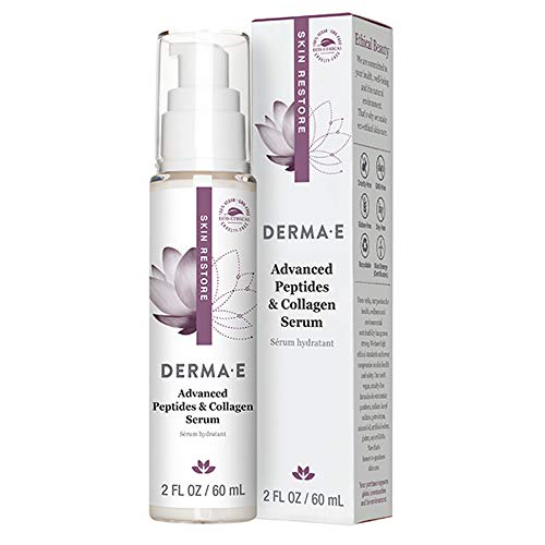 DERMA-E Advanced Peptides & Collagen Serum, Double-action infused facial serum works during the day/overnight, Firming anti-wrinkle skin & eye firming, Smooths the look of wrinkles and deep lines, White, 2 Ounce
