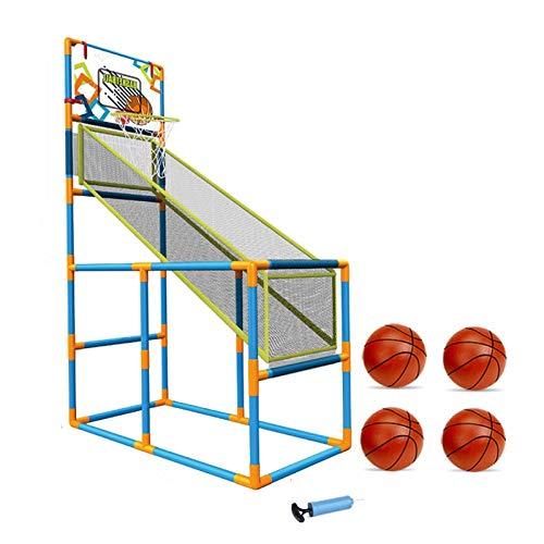 LUYJKL Juego de disparos de baloncesto para niños y niñas, juegos de arcade, juguetes educativos S (color con 4 bolas)