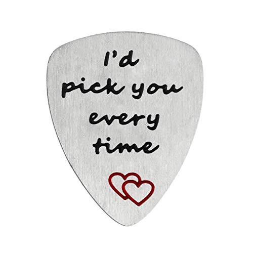 YeeQin Gitarrenplektrum mit Aufschrift 'I'd Pick You Every Time', Musik, Geschenk zum Jahrestag, für Herren
