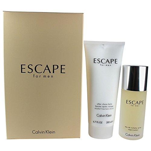 Calvin Klein Escape Eau De Toilette Spray + After Shave Balm For Men Gift Set