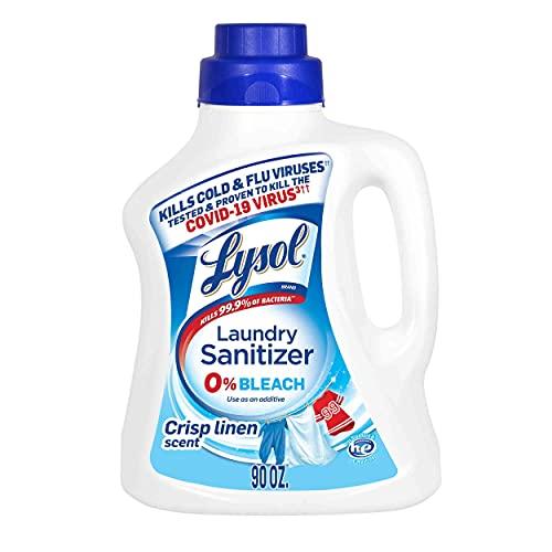 Lysol Laundry Sanitizer Additive, Bacteria-Causing Laundry Odor Eliminator, 0% Bleach Laundry Sanitizer, color, Multi 90 Fl Oz Crisp Linen