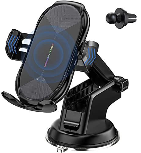 載Qi ワイヤレス充電車載ホルダー 10W/7.5W 急速ワイヤレス充電器 車載スマホホルダー360度回転 粘着式&吹き出し口2種類取り付 iPhone 12/pro/mini/iPhone 11/pro/pro max/X/XR/XS/XSMAX/8/8 Plus/Galaxy S9/S8/S8 Plus/S7/S7 Edgete 8/Nexus 5/6等に適用ワイヤレス充電機種に対応でき