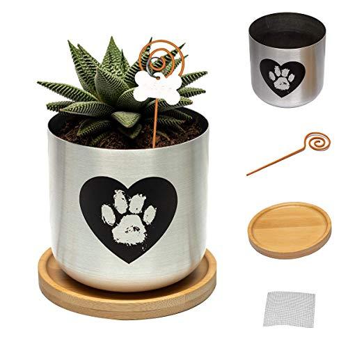 Capti Dog Memorial Gifts Plant Pot - Paw Print On My Heart Planter, Pet Loss Gifts - Rainbow Bridge Poem & Stake, Remembrance, Bereavement, Keepsake, Sympathy Loss of Dog Gifts