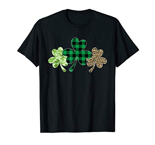 Plaid Shamrock Shirt Leopard Camouflage Fun St Patricks Day T-Shirt