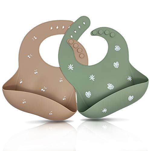 Blissbury Silicone Baby Bibs, Unisex Bibs for Babies & Toddlers BPA Free,Soft Waterproof,Easily Wipe Clean (Warm Taupe/Sage)