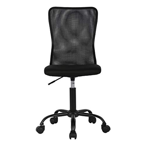 Home Office Chair Mid Back Mesh Desk Chair Armless Computer Chair Ergonomic Task Rolling Swivel Chair Back Support Adjustable Modern Chair with Lumbar Support,Black
