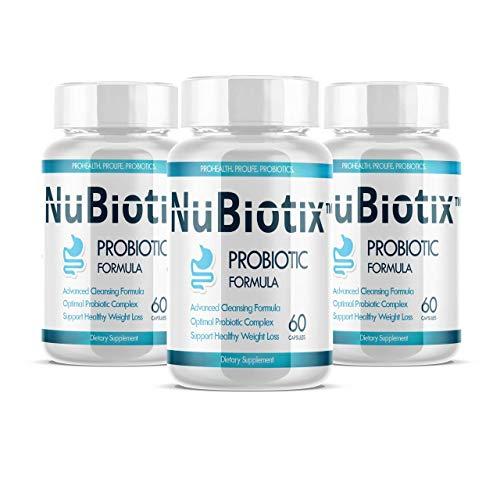 NuBiotix Probiotic Digestive Dietary Supplement for Men & Women, 60 Capsules (Pack of 3)