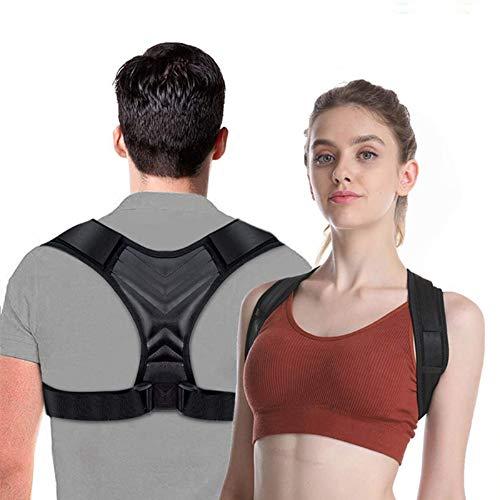 Corrector de Espalda, iThrough Corrector Postura Espalda y Hombro para Hombre y Mujer, Talla Asjustable Corrector de Postura Espalda Recta Transpirable (Negro)