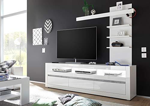 Newfurn Wohnwand Anbauwand Modern Wohnzimmerschrank Wohnlandschaft Mediawand Fernsehschrank II 217x190x 20-42 cm (BxHxT) II [Finn.Three Concept] in Weiß/Weiß Hochglanz Wohnzimmer