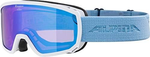 ALPINA SCARABEO S Skibrille, Unisex– Erwachsene, white-skyblue, one size