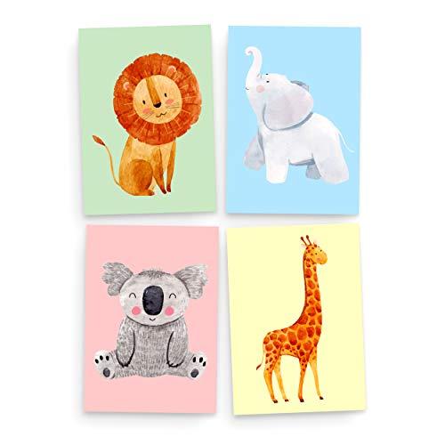 4er Set Poster Kinderzimmer Deko   Wilde Safari   Für Jungen & Mädchen   DIN A4 Posterset   Bunte Wandbilder in zarten Pastellfarben   Tierbilder für Kinder & Baby   Junge Bilder Babyzimmer Tiere