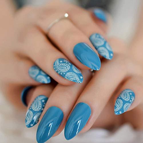 CSCH Ongles de mode Faux Nail Art Tips White Coral Ocean World Gel Sharp Faux Nail Design Press 24