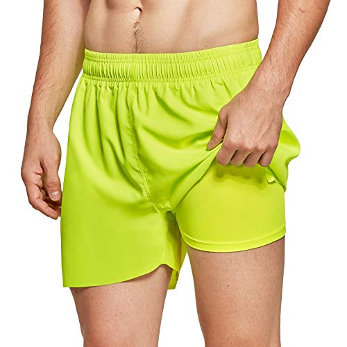 BALEAF Men's 3 inches 2 in 1 Running Shorts Athletic Quick Dry Back Zipper Pocket Gym Workout Shorts Neon Green Size L