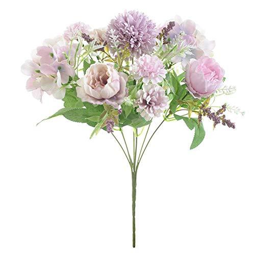 Artificial Flowers Rose Rose Soie Pivoine Bouquet De Fleurs Artificielles 9 Têtes Et 4 Bourgeons Pas Cher Fausses Fleurs Pour 3