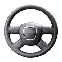 アウディA3 2006-2013 A4(B8)A6(C6)2005-2011 Q5 2009-2012 Q7DIYカスタマイズされた手縫い車のステアリングホイールカバー黒革インテリア、